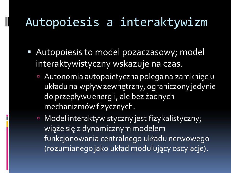 Autopoiesis a interaktywizm  Autopoiesis to model pozaczasowy; model interaktywistyczny wskazuje na czas.
