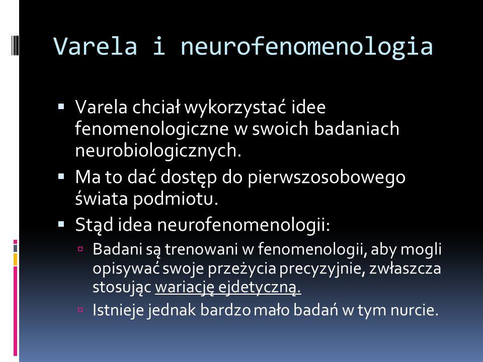 Varela i neurofenomenologia  Varela chciał wykorzystać idee fenomenologiczne w swoich badaniach neurobiologicznych.