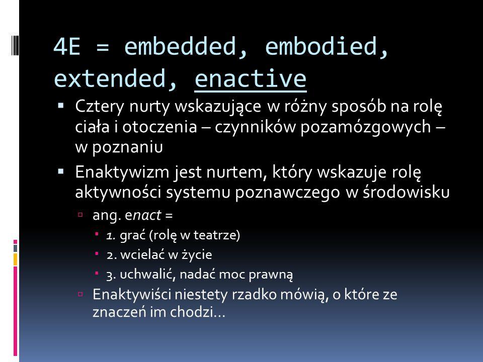 4E = embedded, embodied, extended, enactive  Cztery nurty wskazujące w różny sposób na rolę ciała i otoczenia – czynników pozamózgowych – w poznaniu  Enaktywizm jest nurtem, który wskazuje rolę aktywności systemu poznawczego w środowisku  ang.