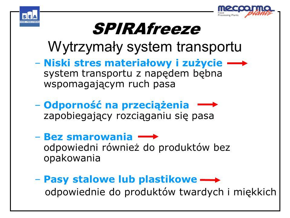 SPIRAfreeze Wytrzymały system transportu –Niski stres materiałowy i zużycie system transportu z napędem bębna wspomagającym ruch pasa –Odporność na pr