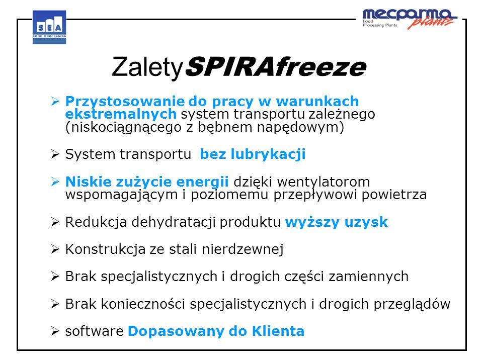 Zalety SPIRAfreeze  Przystosowanie do pracy w warunkach ekstremalnych system transportu zależnego (niskociągnącego z bębnem napędowym)  System trans