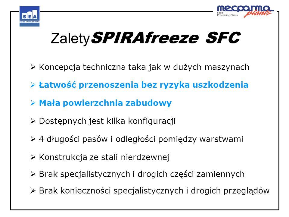 Zalety SPIRAfreeze SFC  Koncepcja techniczna taka jak w dużych maszynach  Łatwość przenoszenia bez ryzyka uszkodzenia  Mała powierzchnia zabudowy 