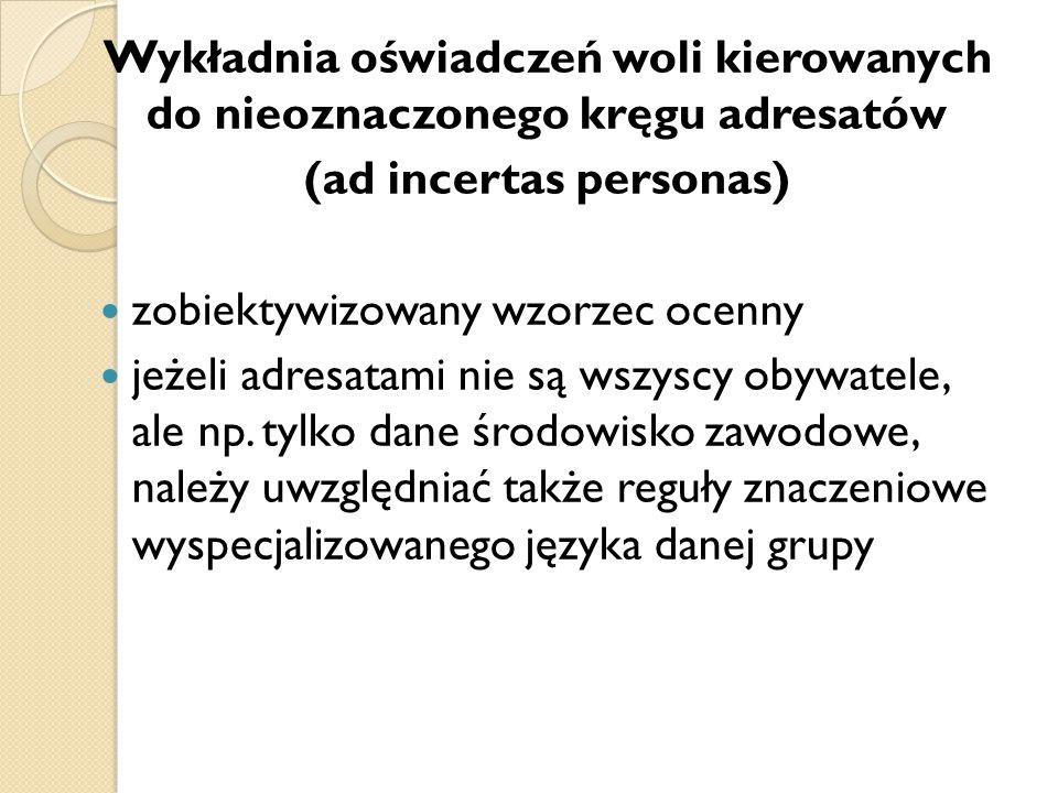 Wykładnia oświadczeń woli kierowanych do nieoznaczonego kręgu adresatów (ad incertas personas) zobiektywizowany wzorzec ocenny jeżeli adresatami nie s
