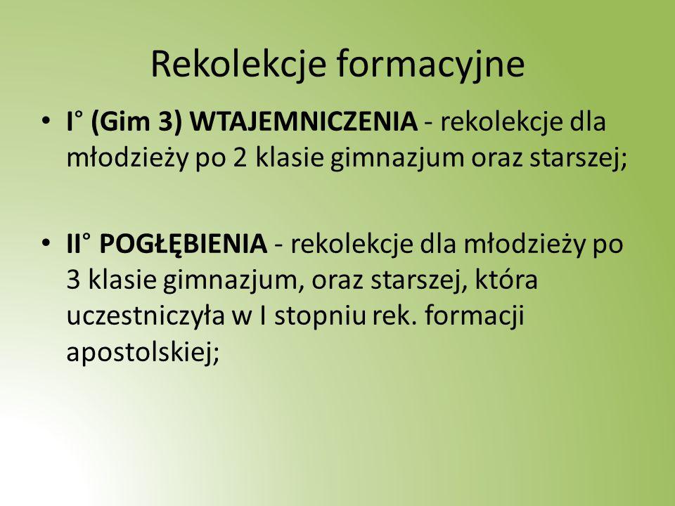 Rekolekcje formacyjne I° (Gim 3) WTAJEMNICZENIA - rekolekcje dla młodzieży po 2 klasie gimnazjum oraz starszej; II° POGŁĘBIENIA - rekolekcje dla młodzieży po 3 klasie gimnazjum, oraz starszej, która uczestniczyła w I stopniu rek.