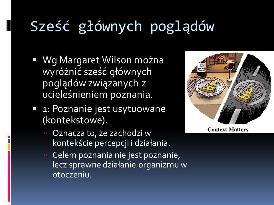 Sześć głównych poglądów  Wg Margaret Wilson można wyróżnić sześć głównych poglądów związanych z ucieleśnieniem poznania.  1: Poznanie jest usytuowan