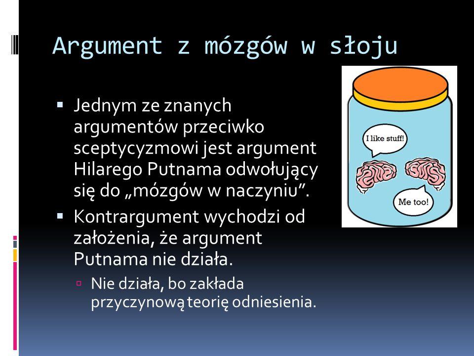 """Argument z mózgów w słoju  Jednym ze znanych argumentów przeciwko sceptycyzmowi jest argument Hilarego Putnama odwołujący się do """"mózgów w naczyniu""""."""
