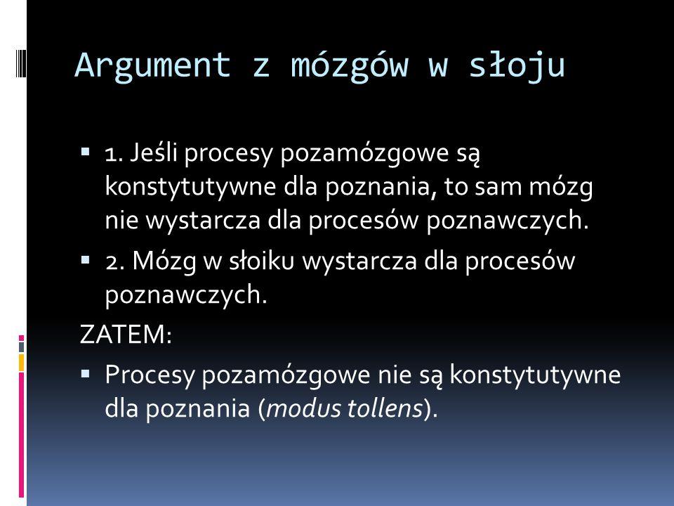 Argument z mózgów w słoju  1. Jeśli procesy pozamózgowe są konstytutywne dla poznania, to sam mózg nie wystarcza dla procesów poznawczych.  2. Mózg