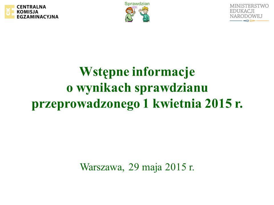Wstępne informacje o wynikach sprawdzianu przeprowadzonego 1 kwietnia 2015 r. Warszawa, 29 maja 2015 r.