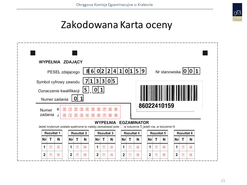 Okręgowa Komisja Egzaminacyjna w Krakowie Zakodowana Karta oceny 8 6 0 2 2 4 1 0 1 5 90 0 1 7 1 3 3 0 5 S 0 1 0 1 21