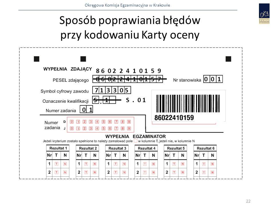 Okręgowa Komisja Egzaminacyjna w Krakowie Sposób poprawiania błędów przy kodowaniu Karty oceny 8 6 0 2 2 4 1 0 1 5 70 0 1 7 1 3 3 0 5 S 1 0 1 8 6 0 2