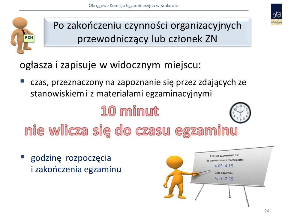 Okręgowa Komisja Egzaminacyjna w Krakowie ogłasza i zapisuje w widocznym miejscu:  czas, przeznaczony na zapoznanie się przez zdających ze stanowiskiem i z materiałami egzaminacyjnymi Po zakończeniu czynności organizacyjnych przewodniczący lub członek ZN Po zakończeniu czynności organizacyjnych przewodniczący lub członek ZN 24 PZN  godzinę rozpoczęcia i zakończenia egzaminu