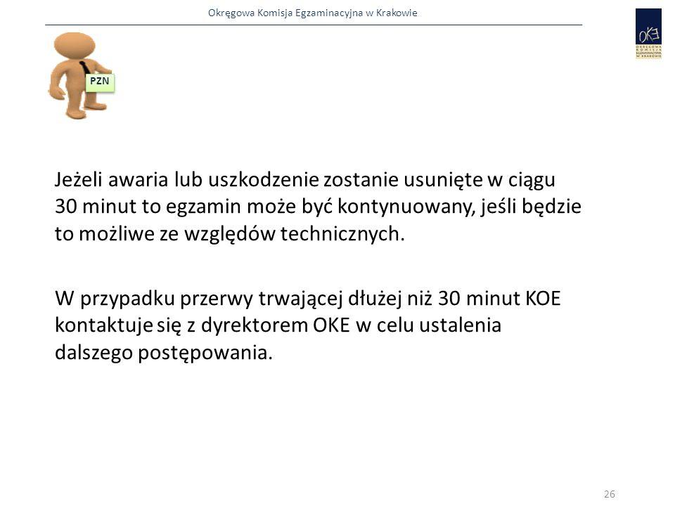 Okręgowa Komisja Egzaminacyjna w Krakowie Jeżeli awaria lub uszkodzenie zostanie usunięte w ciągu 30 minut to egzamin może być kontynuowany, jeśli będ