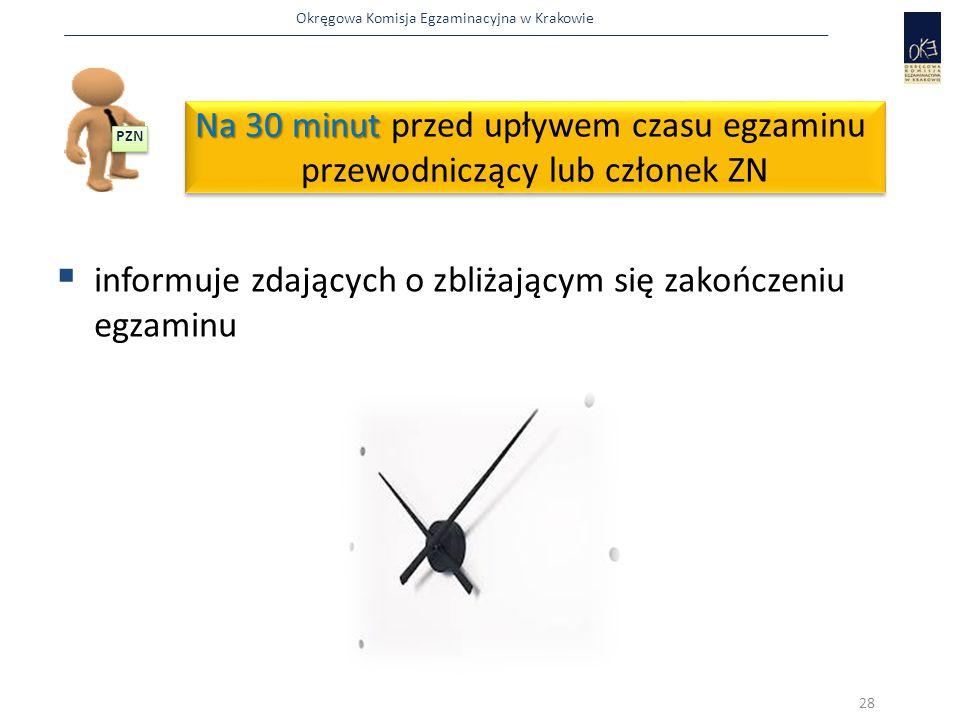 Okręgowa Komisja Egzaminacyjna w Krakowie Na 30 minut Na 30 minut przed upływem czasu egzaminu przewodniczący lub członek ZN Na 30 minut Na 30 minut przed upływem czasu egzaminu przewodniczący lub członek ZN  informuje zdających o zbliżającym się zakończeniu egzaminu 28 PZN