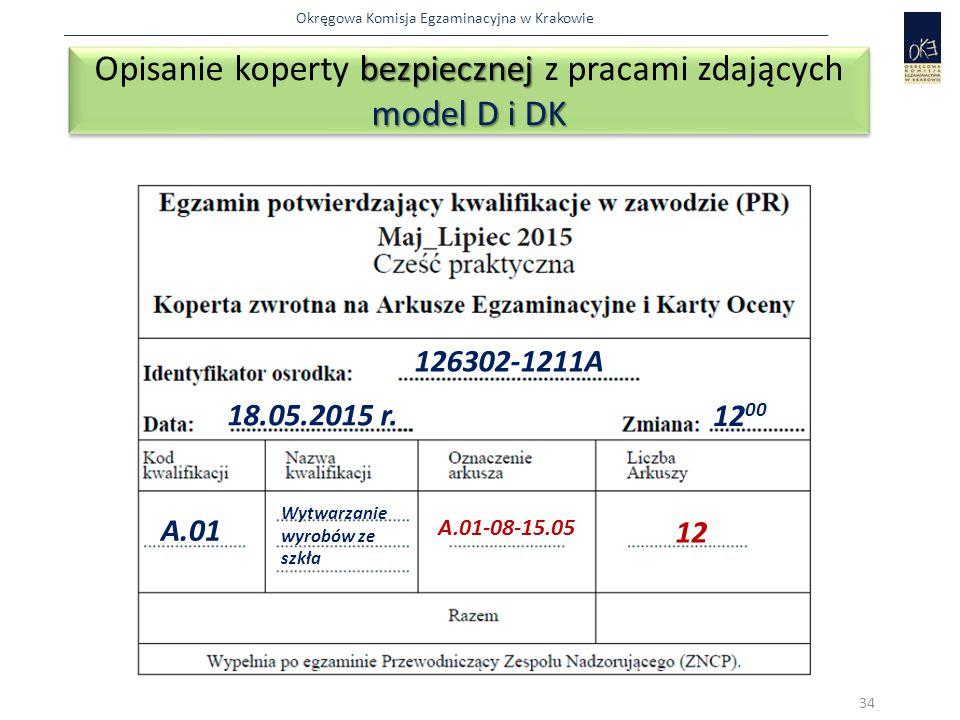 Okręgowa Komisja Egzaminacyjna w Krakowie bezpiecznej model D i DK Opisanie koperty bezpiecznej z pracami zdających model D i DK 34 126302-1211A 18.05.2015 r.