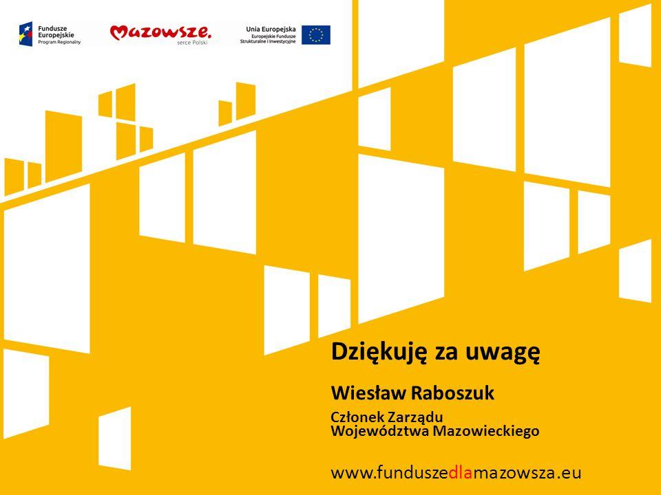 Dziękuję za uwagę Wiesław Raboszuk Członek Zarządu Województwa Mazowieckiego www.funduszedlamazowsza.eu