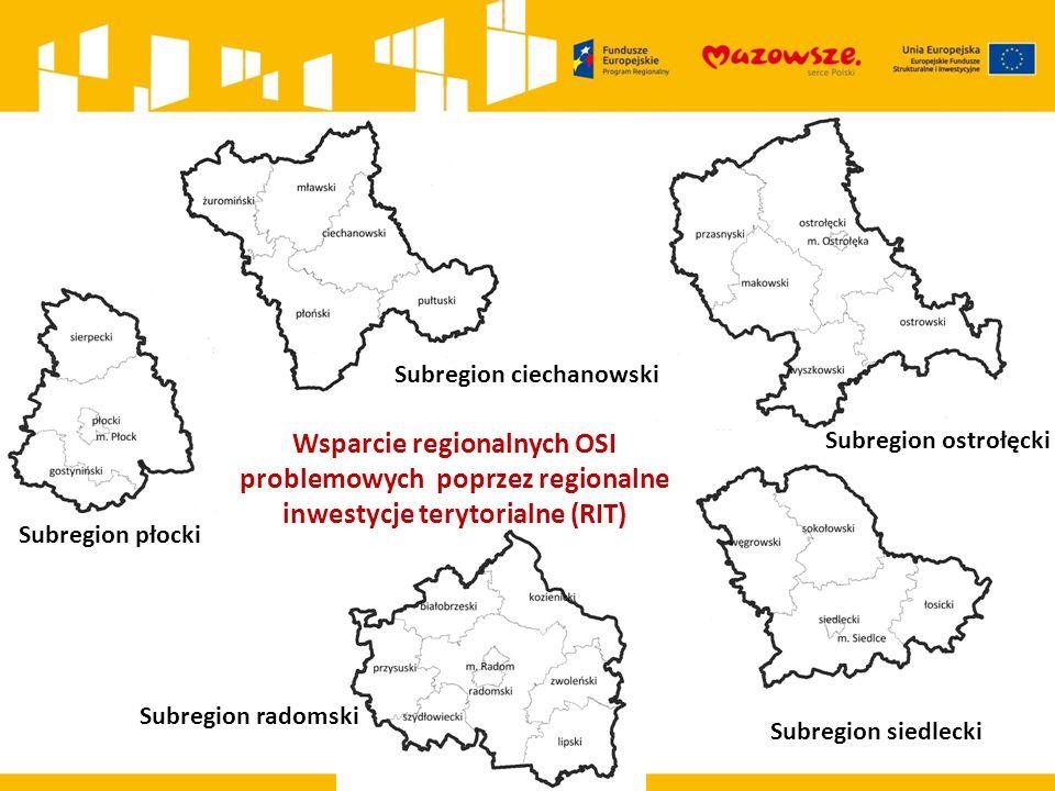 Subregion płocki Subregion ciechanowski Subregion ostrołęcki Subregion siedlecki Subregion radomski Wsparcie regionalnych OSI problemowych poprzez reg