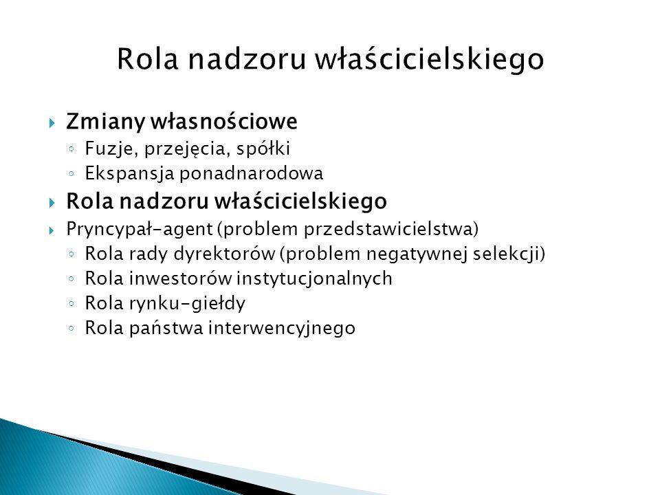  Zmiany własnościowe ◦ Fuzje, przejęcia, spółki ◦ Ekspansja ponadnarodowa  Rola nadzoru właścicielskiego  Pryncypał-agent (problem przedstawicielstwa) ◦ Rola rady dyrektorów (problem negatywnej selekcji) ◦ Rola inwestorów instytucjonalnych ◦ Rola rynku-giełdy ◦ Rola państwa interwencyjnego