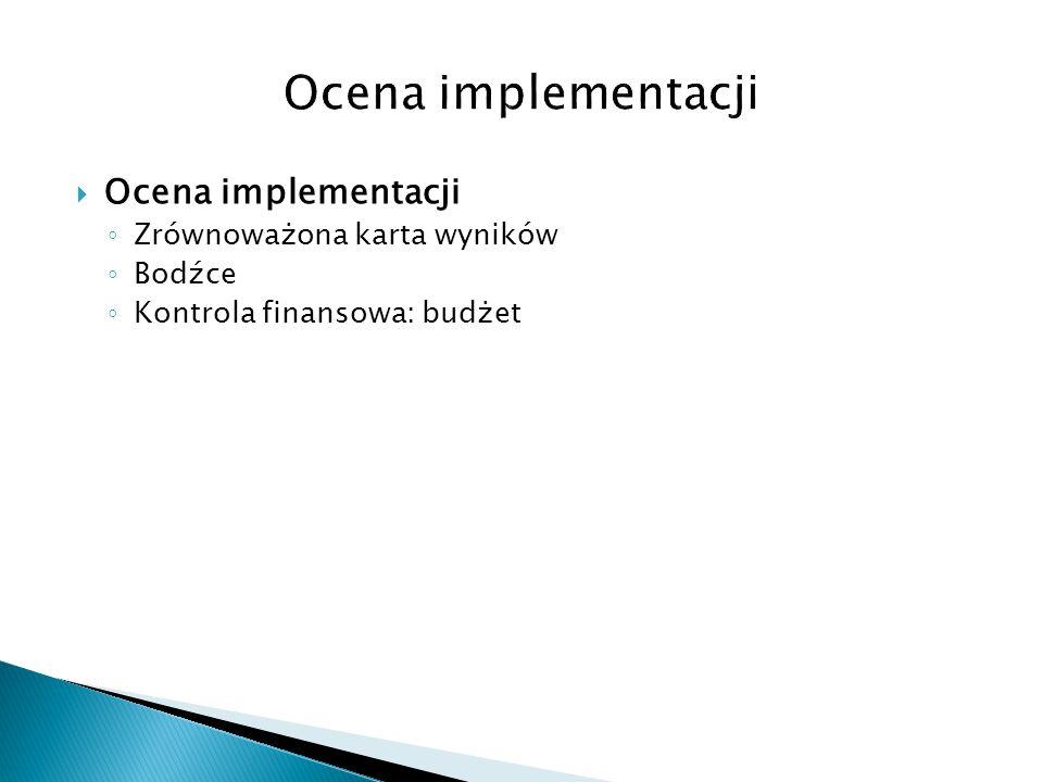  Ocena implementacji ◦ Zrównoważona karta wyników ◦ Bodźce ◦ Kontrola finansowa: budżet