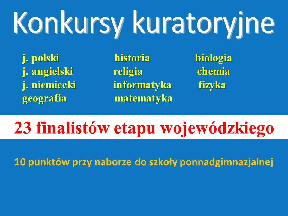 j. polski historia biologia j. angielski religia chemia j.