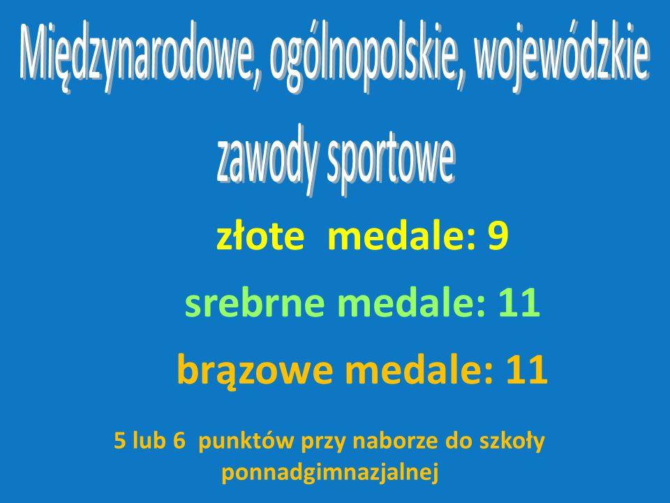 złote medale: 9 srebrne medale: 11 brązowe medale: 11 5 lub 6 punktów przy naborze do szkoły ponnadgimnazjalnej