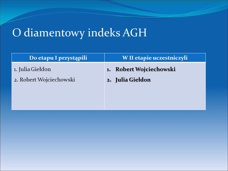 O diamentowy indeks AGH Do etapu I przystąpiliW II etapie uczestniczyli 1. Julia Giełdon 2. Robert Wojciechowski 1.Robert Wojciechowski 2.Julia Giełdo