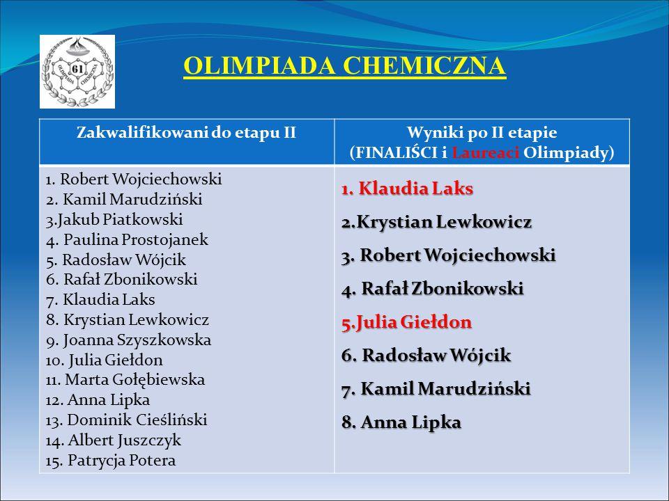 Zakwalifikowani do etapu IIWyniki po II etapie (FINALIŚCI i Laureaci Olimpiady) 1. Robert Wojciechowski 2. Kamil Marudziński 3.Jakub Piatkowski 4. Pau