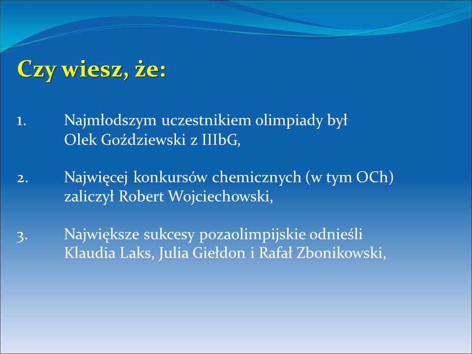 Czy wiesz, że: Czy wiesz, że: 1. Najmłodszym uczestnikiem olimpiady był Olek Goździewski z IIIbG, 2. Najwięcej konkursów chemicznych (w tym OCh) zalic