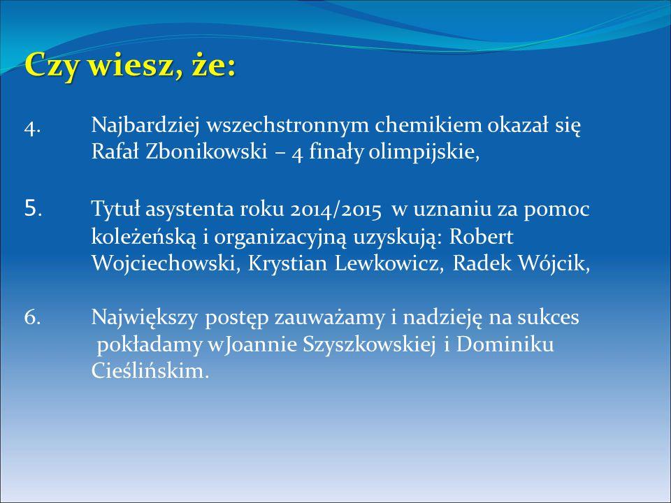 Czy wiesz, że: Czy wiesz, że: 4. Najbardziej wszechstronnym chemikiem okazał się Rafał Zbonikowski – 4 finały olimpijskie, 5. Tytuł asystenta roku 201