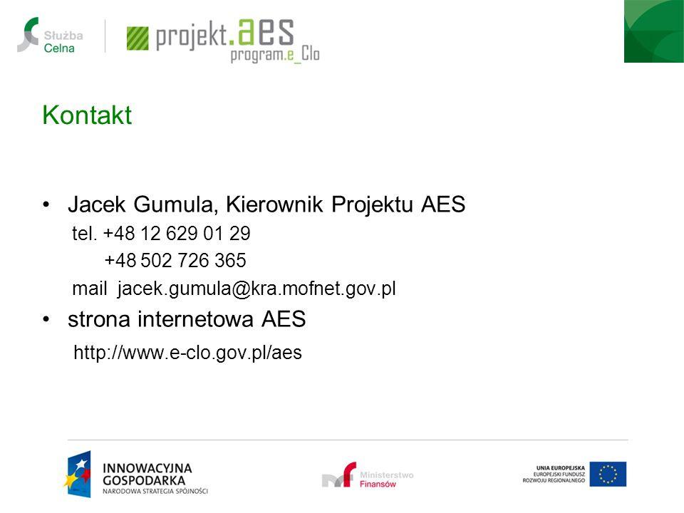 Kontakt Jacek Gumula, Kierownik Projektu AES tel.