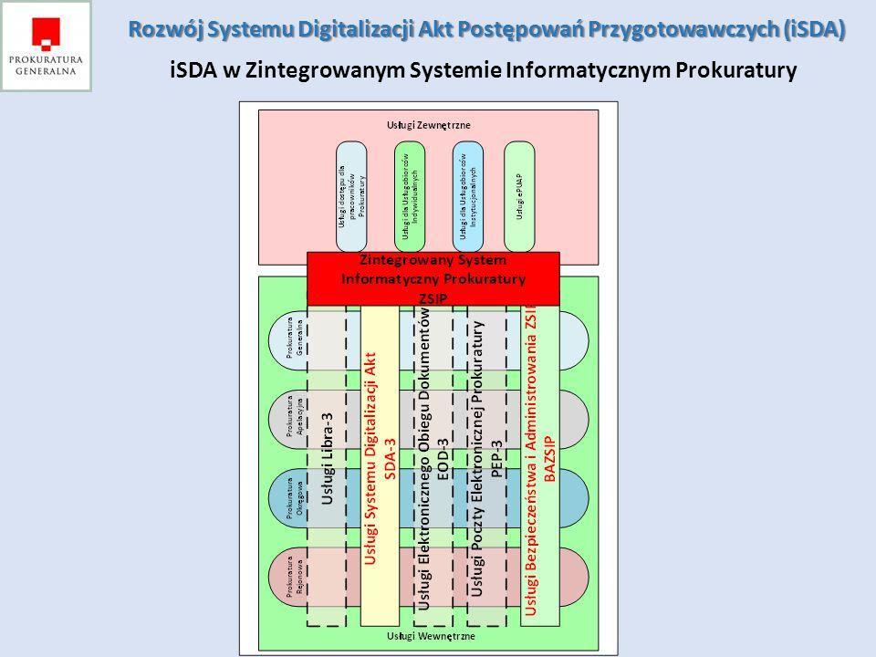 Celem projektu jest rozwój systemu digitalizacji akt postępowań przygotowawczych, umożliwiającego: - udostępnianie poprzez sieć Internet zdigitalizowanych akt uczestnikom (obywatelom, przedsiębiorcom) postępowania przygotowawczego, - przekazywanie poprzez portal prokuratury zdigitalizowanych akt innym organom władzy publicznej, współpracujących z prokuraturą na etapie postępowań przygotowawczych, - wdrożenie systemu SDA w prokuraturach rejonowych Rozwój Systemu Digitalizacji Akt Postępowań Przygotowawczych (iSDA) Rozwój Systemu Digitalizacji Akt Postępowań Przygotowawczych (iSDA) Cele projektu