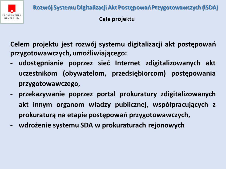 Celem projektu jest rozwój systemu digitalizacji akt postępowań przygotowawczych, umożliwiającego: - udostępnianie poprzez sieć Internet zdigitalizowa