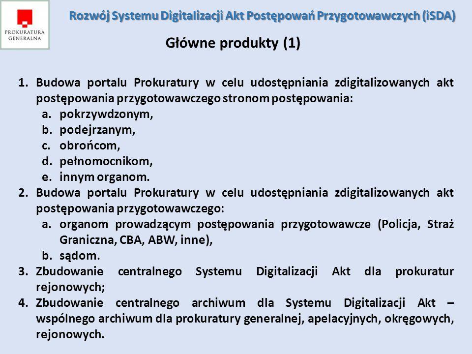 Główne produkty (2) /Infrastrukturalne/ 1.Centralny System Zarządzania Tożsamością; 2.Centralne Usługi Katalogowe; 3.Szyna usług; 4.Rozbudowa infrastruktury techniczno-systemowej ośrodka przetwarzania danych dla centrum; 5.Rozbudowa infrastruktury techniczno-systemowej w Prokuraturze Generalnej oraz prokuraturach apelacyjnych, okręgowych i rejonowych.