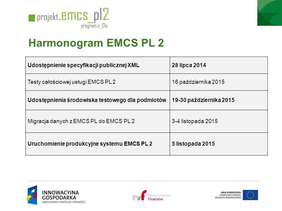 Harmonogram EMCS PL 2 Udostępnienie specyfikacji publicznej XML28 lipca 2014 Testy całościowej usługi EMCS PL 216 października 2015 Udostępnienia środ