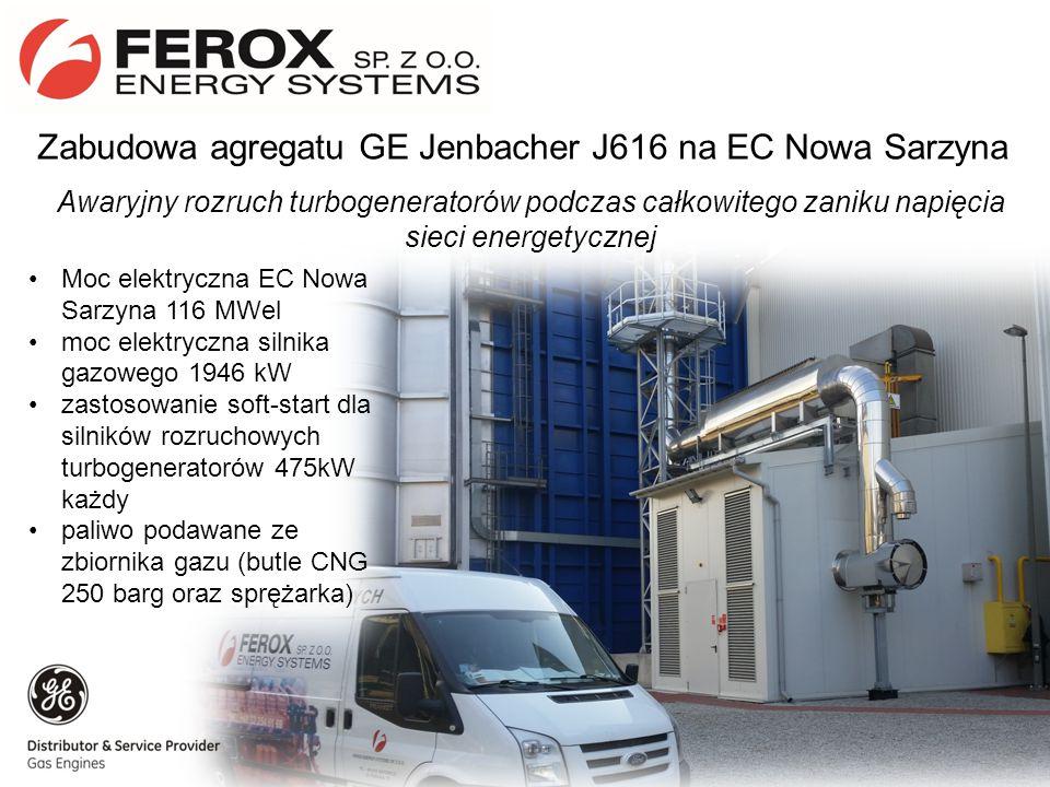 Zabudowa agregatu GE Jenbacher J616 na EC Nowa Sarzyna Awaryjny rozruch turbogeneratorów podczas całkowitego zaniku napięcia sieci energetycznej Moc elektryczna EC Nowa Sarzyna 116 MWel moc elektryczna silnika gazowego 1946 kW zastosowanie soft-start dla silników rozruchowych turbogeneratorów 475kW każdy paliwo podawane ze zbiornika gazu (butle CNG 250 barg oraz sprężarka)