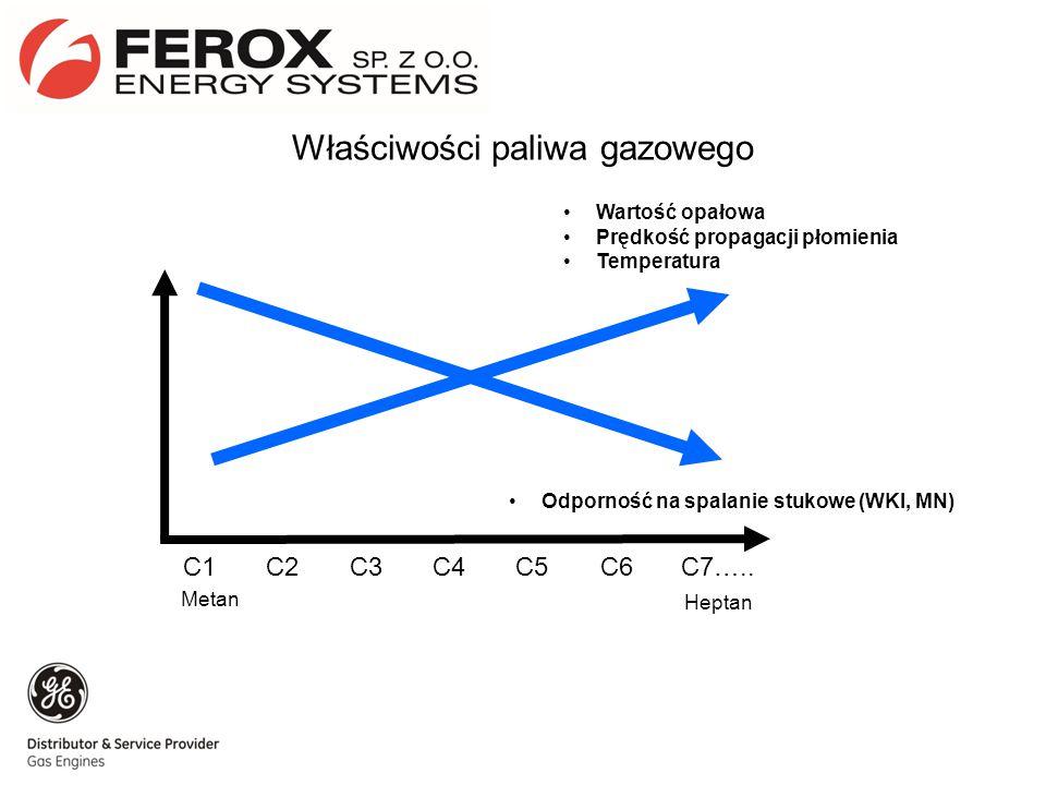 C1C4C5C6C2C3C7….. Odporność na spalanie stukowe (WKI, MN) Wartość opałowa Prędkość propagacji płomienia Temperatura Metan Heptan Właściwości paliwa ga