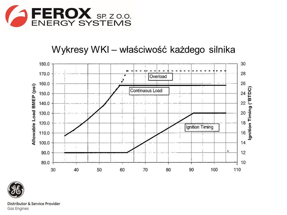 Przykładowe składy paliwa gazowego Skład 1Skład 2 Metan28,648,2 Etan11,8713,8 Propan7,688,7 C4…3,84,8 Dwutlenek węgla0,40,25 Azot47,624 Wartość opałowa29,340 WKI5855 Redukcja mocy silnika30%20%