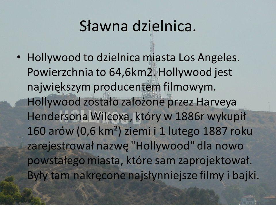Sławna dzielnica. Hollywood to dzielnica miasta Los Angeles. Powierzchnia to 64,6km2. Hollywood jest największym producentem filmowym. Hollywood zosta