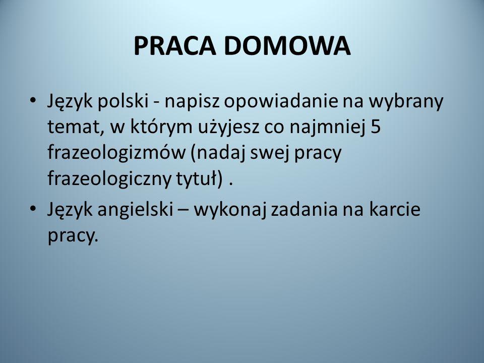 PRACA DOMOWA Język polski - napisz opowiadanie na wybrany temat, w którym użyjesz co najmniej 5 frazeologizmów (nadaj swej pracy frazeologiczny tytuł).