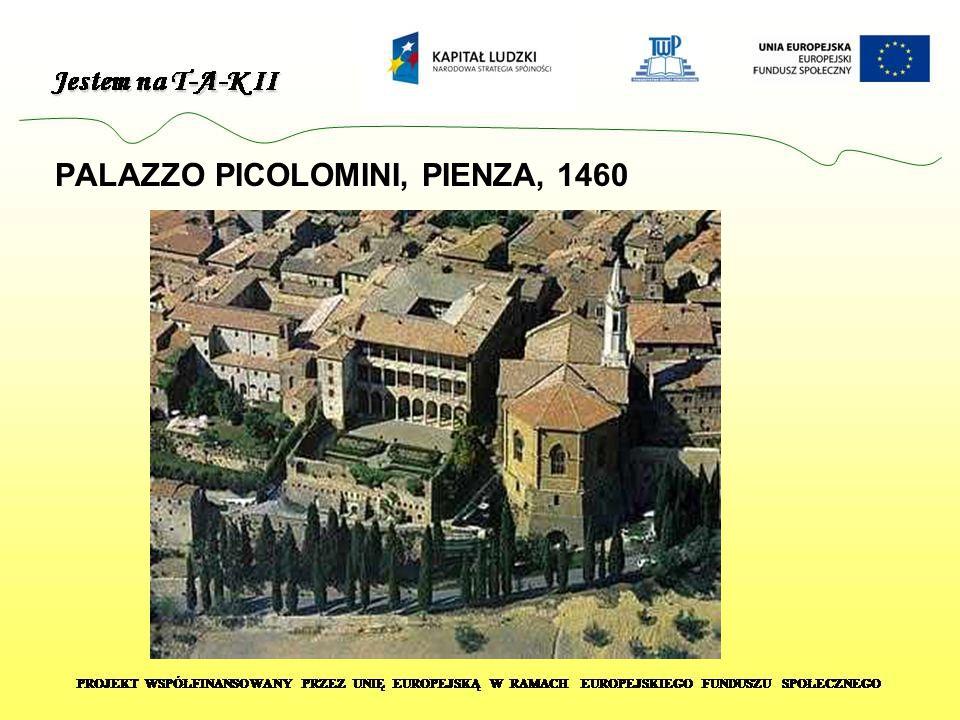 Widok z niewielkiego tarasu Palazzo Picolomini na dolinę d Orcia.