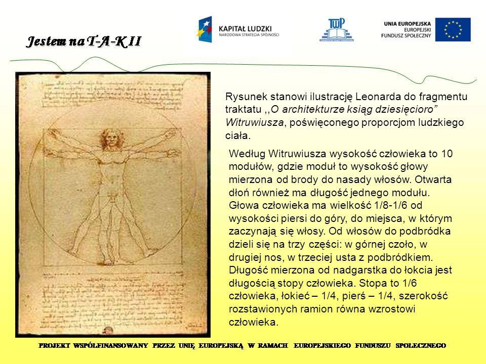 """Rysunek stanowi ilustrację Leonarda do fragmentu traktatu,,O architekturze ksiąg dziesięcioro"""" Witruwiusza, poświęconego proporcjom ludzkiego ciała. W"""