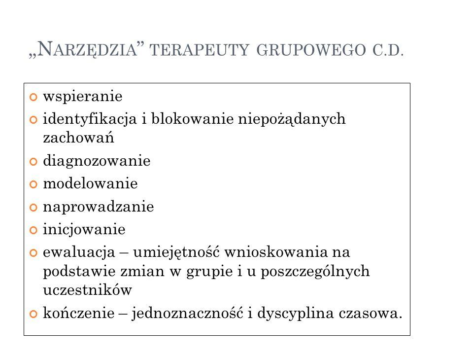 """""""N ARZĘDZIA TERAPEUTY GRUPOWEGO C.D."""