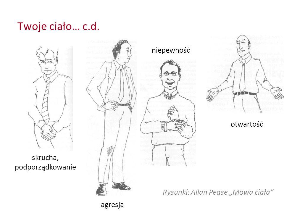 """Twoje ciało… c.d. skrucha, podporządkowanie agresja otwartość Rysunki: Allan Pease """"Mowa ciała"""" niepewność"""