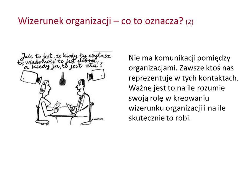Wizerunek organizacji – co to oznacza? (2) Nie ma komunikacji pomiędzy organizacjami. Zawsze ktoś nas reprezentuje w tych kontaktach. Ważne jest to na