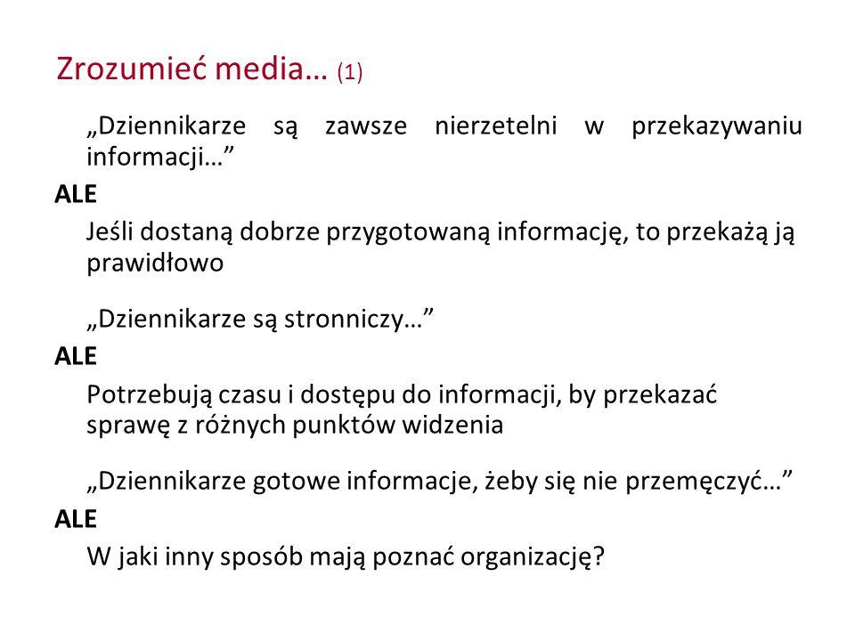 """Zrozumieć media… (1) """"Dziennikarze są zawsze nierzetelni w przekazywaniu informacji…"""" ALE Jeśli dostaną dobrze przygotowaną informację, to przekażą ją"""