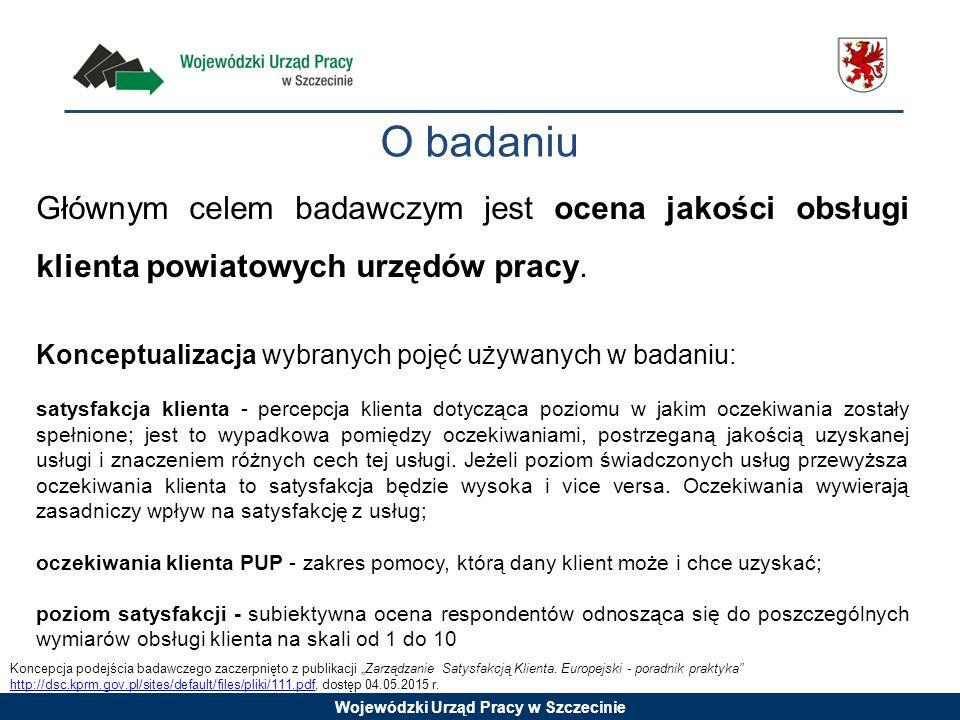 Wojewódzki Urząd Pracy w Szczecinie O badaniu Głównym celem badawczym jest ocena jakości obsługi klienta powiatowych urzędów pracy. Konceptualizacja w