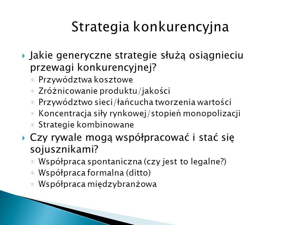  Jakie generyczne strategie służą osiągnieciu przewagi konkurencyjnej? ◦ Przywództwa kosztowe ◦ Zróżnicowanie produktu/jakości ◦ Przywództwo sieci/ła
