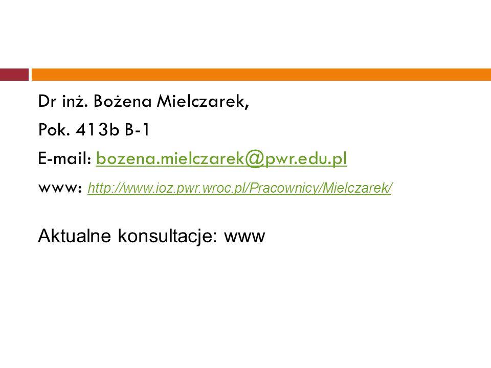 Dr inż. Bożena Mielczarek, Pok. 413b B-1 E-mail: bozena.mielczarek@pwr.edu.plbozena.mielczarek@pwr.edu.pl www: http://www.ioz.pwr.wroc.pl/Pracownicy/M