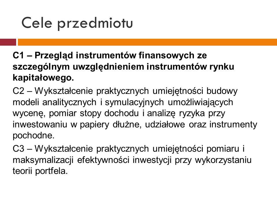Cele przedmiotu C1 – Przegląd instrumentów finansowych ze szczególnym uwzględnieniem instrumentów rynku kapitałowego. C2 – Wykształcenie praktycznych
