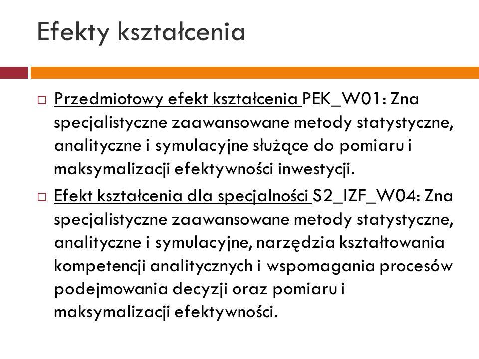 Efekty kształcenia  Przedmiotowy efekt kształcenia PEK_W01: Zna specjalistyczne zaawansowane metody statystyczne, analityczne i symulacyjne służące d