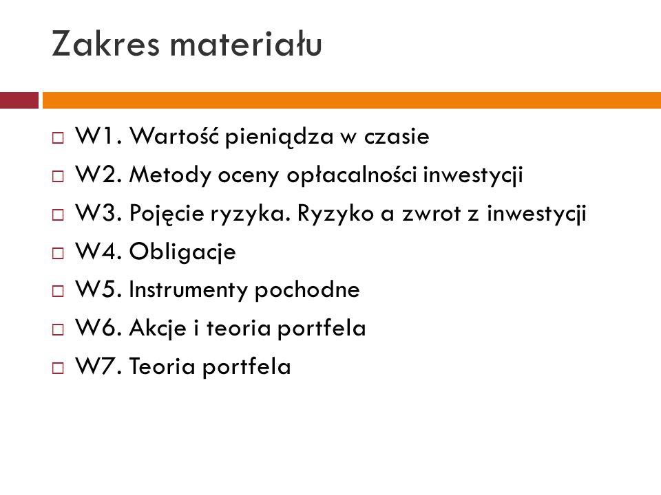 Zakres materiału  W1. Wartość pieniądza w czasie  W2. Metody oceny opłacalności inwestycji  W3. Pojęcie ryzyka. Ryzyko a zwrot z inwestycji  W4. O